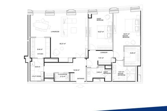 2-комн квартира, 142.6 м2, 9 этаж