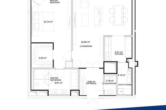 1-комн квартира, 89 м2, 10 этаж
