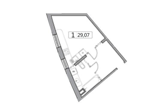1-комн квартира, 29.07 м2, 34 этаж