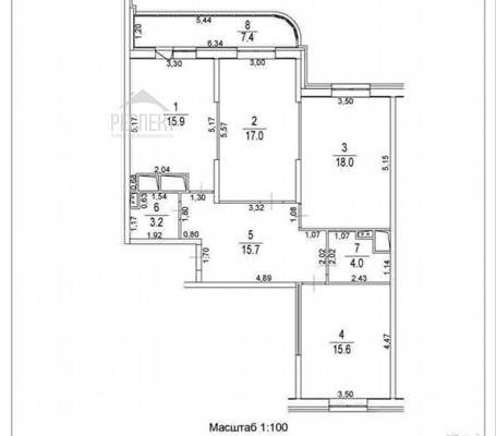 3-комн квартира, 96 м2, 20 этаж - фото 1