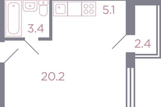 Студия, 29.9 м2, 7 этаж