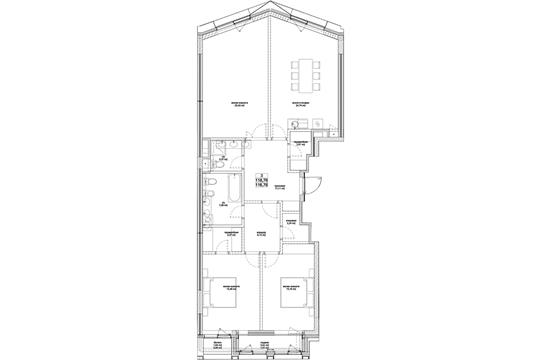3-комн квартира, 119.6 м2, 4 этаж