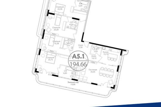 5-комн квартира, 194.66 м<sup>2</sup>, 14 этаж_1