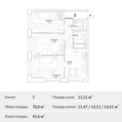 3-комн квартира, 70.8 м2, 26 этаж - фото 1