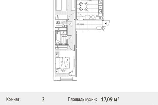 2-комн квартира, 61.8 м2, 2 этаж