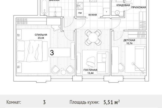3-комн квартира, 69 м2, 8 этаж