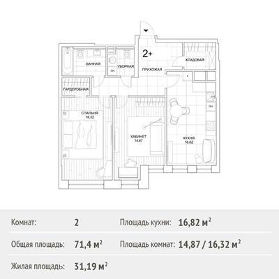 2-комн квартира, 71.4 м2, 2 этаж - фото 1