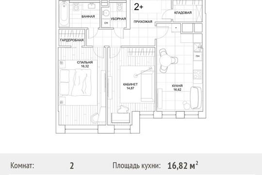 2-комн квартира, 73.2 м2, 18 этаж