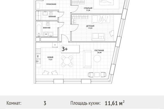 3-комн квартира, 95.3 м2, 5 этаж