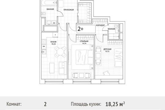 2-комн квартира, 73.5 м2, 17 этаж