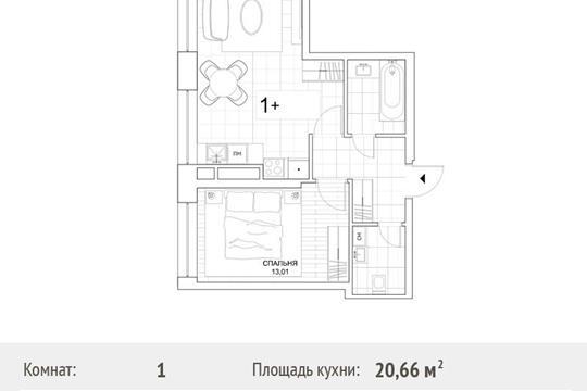 1-комн квартира, 45.6 м2, 24 этаж