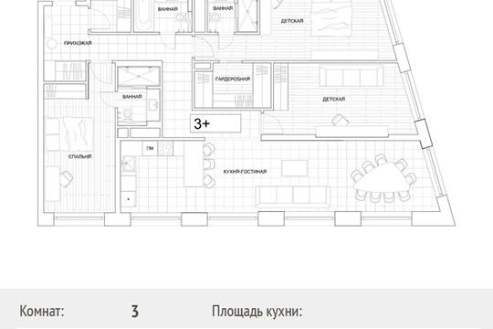 3-комн квартира, 137.4 м2, 2 этаж