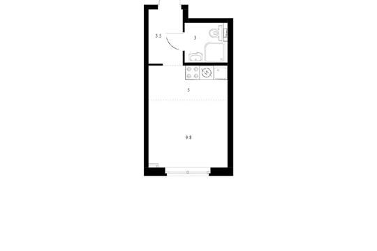 Студия, 21.2 м2, 13 этаж