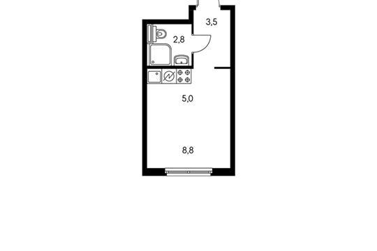 Студия, 20.1 м2, 29 этаж