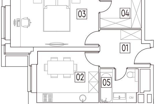1-комн квартира, 41.7 м2, 16 этаж