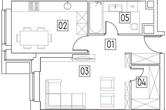 1-комн квартира, 42.7 м2, 2 этаж