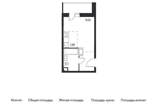 Студия, 22.47 м2, 6 этаж