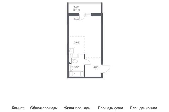 Студия, 27.04 м<sup>2</sup>, 14 этаж_1