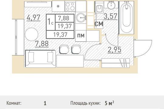 Студия, 19.37 м2, 4 этаж
