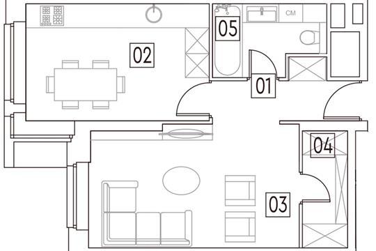 1-комн квартира, 41.5 м2, 11 этаж