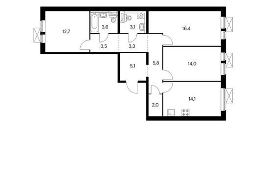 3-комн квартира, 83.6 м<sup>2</sup>, 16 этаж_1