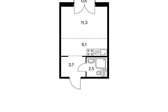 Студия, 23.8 м2, 7 этаж