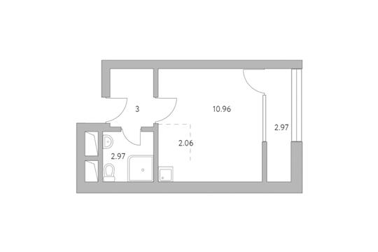 Студия, 21.96 м2, 4 этаж