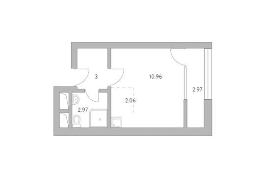 Студия, 21.96 м2, 2 этаж