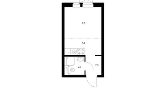 Студия, 19.7 м2, 28 этаж