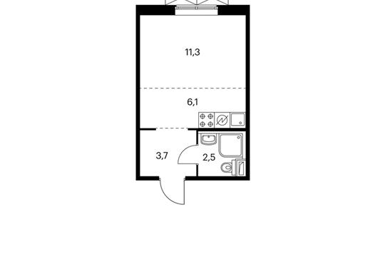 Студия, 23.6 м2, 4 этаж