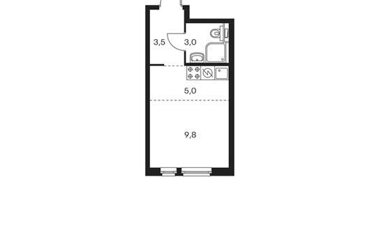 Студия, 21.3 м2, 18 этаж
