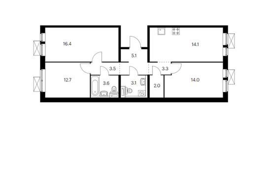 3-комн квартира, 83.6 м<sup>2</sup>, 14 этаж_1