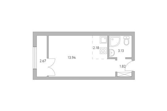Студия, 23.74 м2, 1 этаж