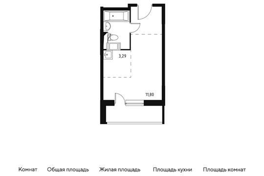 Студия, 24.78 м2, 10 этаж