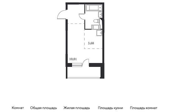 Студия, 22.91 м2, 10 этаж