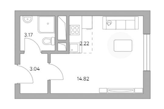 Студия, 23.25 м2, 2 этаж
