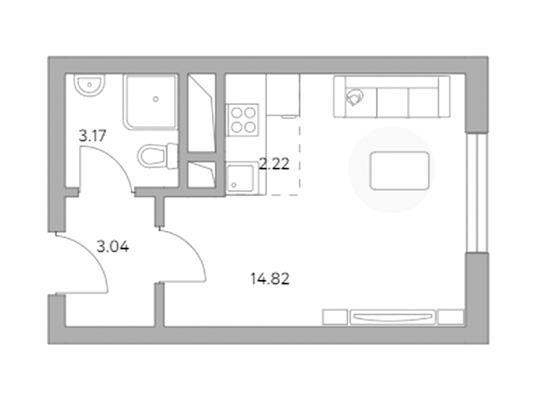 Студия, 23.25 м2, 2 этаж - фото 1