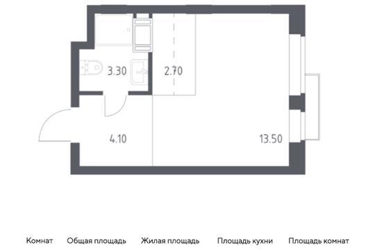 Студия, 24 м2, 2 этаж