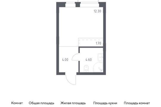 Студия, 22.6 м2, 2 этаж