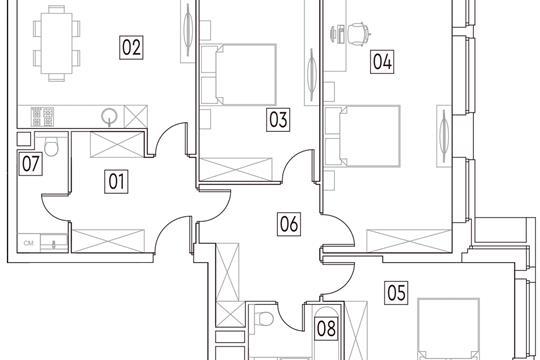 4-комн квартира, 94.4 м<sup>2</sup>, 2 этаж_1
