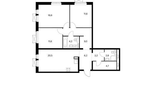 3-комн квартира, 89.4 м<sup>2</sup>, 22 этаж_1