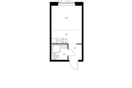 Студия, 19.7 м2, 2 этаж