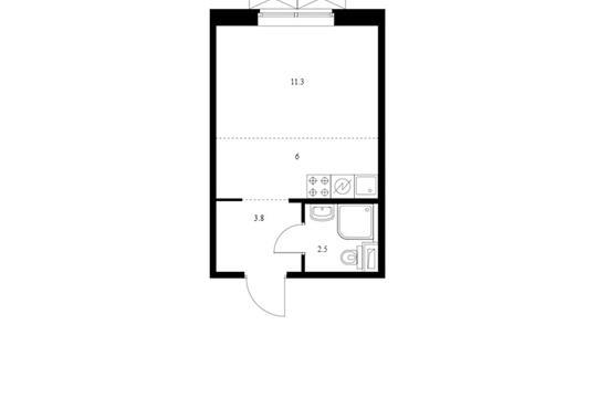 Студия, 23.6 м2, 8 этаж