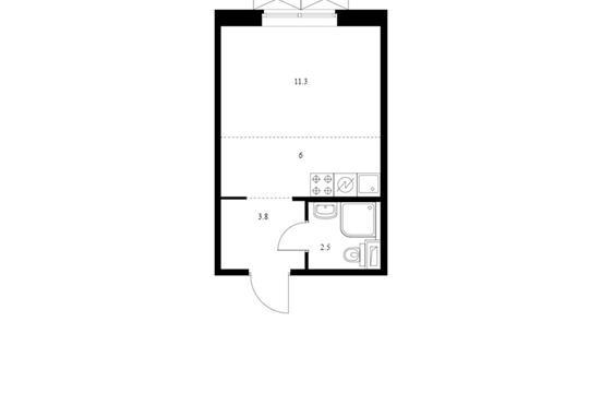 Студия, 23.6 м2, 2 этаж