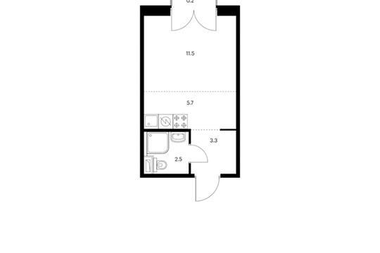 Студия, 23.2 м2, 5 этаж