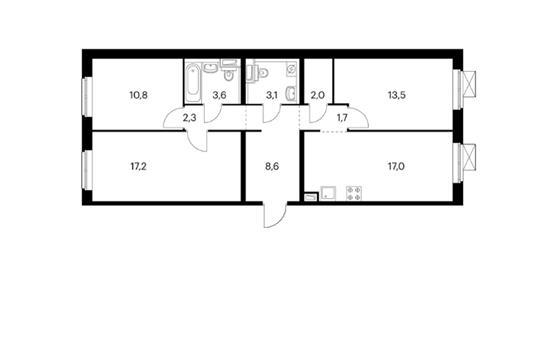 3-комн квартира, 79.7 м<sup>2</sup>, 3 этаж_1