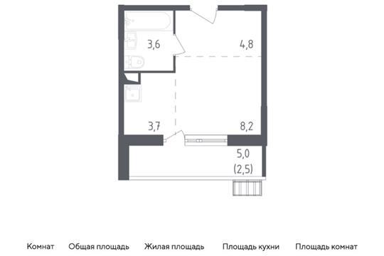 Студия, 22.8 м<sup>2</sup>, 2 этаж_1