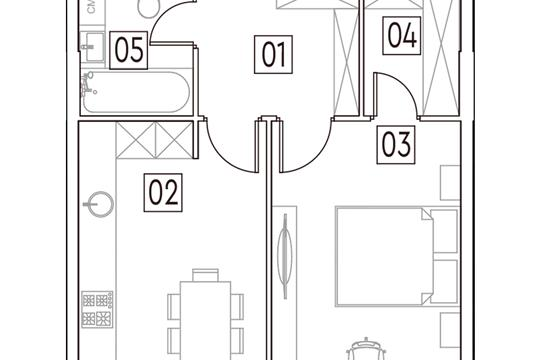 1-комн квартира, 42.2 м2, 3 этаж