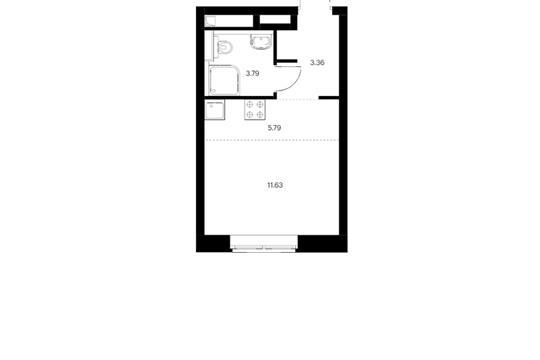 Студия, 24.57 м2, 6 этаж