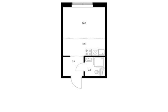 Студия, 21.7 м2, 1 этаж